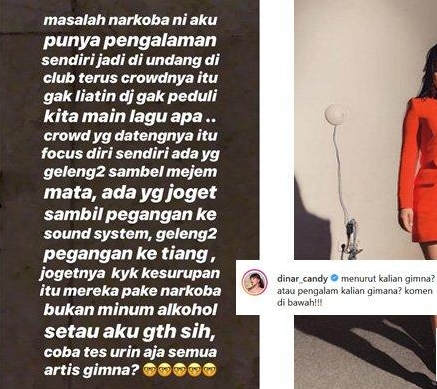 DJ Dinar Candy Menyerukan Untuk Tes Urin Kepada Semua Artis